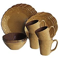 image of American Atelier Napa 16-Piece Dinnerware Set in Coffee