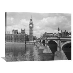 Westminster Bridge Showing Big Ben, 1959 By Philip Gendreau, 40 X 30-Inch Wall Art