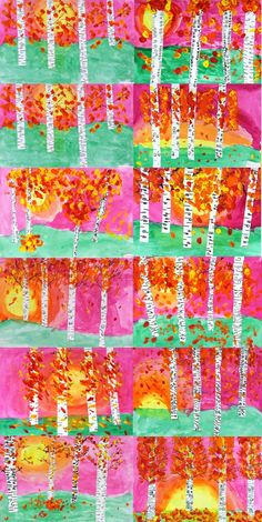 ART with Mrs. A: Grade Autumn Birch Landscapes – Kunstunterricht 3rd Grade Art Lesson, Third Grade Art, Grade 1 Art, Grade 2, Birch Tree Art, Birch Bark, Fall Art Projects, Thanksgiving Art, Ecole Art