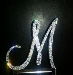 Custom Swarovski Crystal Monogram Wedding Cake Topper by OCsparkles, $65.00 Free Shipping!