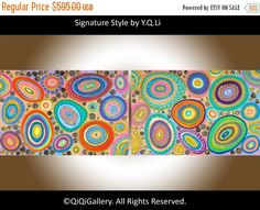 72 Huge Abstract Painting wall art wall decor hand by QiQiGallery