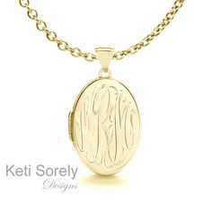 Hand engraved Gold Personalized Oval Monogram Locket - Customized It with Your Initials - Sterling Silver with 24K Gold