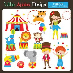Circus Clipart - Perfect for circus themed birthday parties, paper products, scrapbooking, stickers and more.
