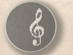 Treble clef Musical Note Cross Stitch PDF Pattern by andwabisabi, $2.50