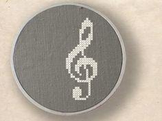 Treble clef. Musical Note Cross Stitch PDF Pattern. $2.50, via Etsy.