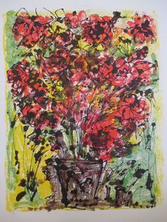 """Yanni Posnakoff (b.1933) floral expressionist 30"""" lithograph"""