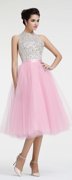 Halter beaded crystal homecoming dresses sparkle homecoming dresses backless homecoming dresses tea length prom dresses pageant dresses