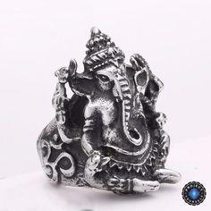 Stainless Steel Silver Lord Ganesha Ring