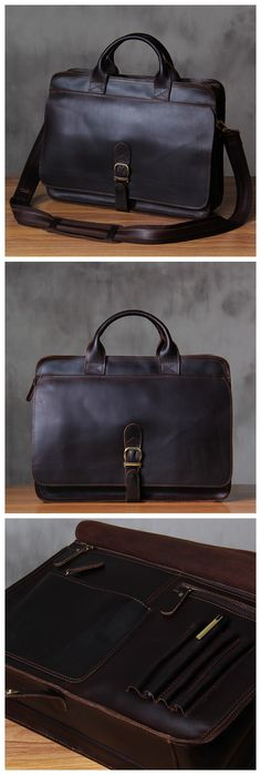 Handcrafted Antique Style Top Grain Leather Mens Briefcase Messenger Bag Laptop…