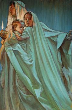 Escape By Night, prophetic art by Rose Datoc Dall. Jesus with Mary and Joseph. What beautiful blue and green glowing colors! Blessed Mother Mary, Blessed Virgin Mary, Lds Art, Bible Art, Catholic Art, Religious Art, Mary And Jesus, Jesus And Mary Pictures, Mama Mary