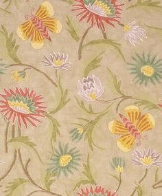 Lizette Tea Stain (T36101) - Thibaut Wallpapers - A beautiful handpainted effect floral design featuring graceful butterflies shown here in the tea stain and a rich orange colourway. Other colourways are available. Wide width. Please request a sample for true colour match.