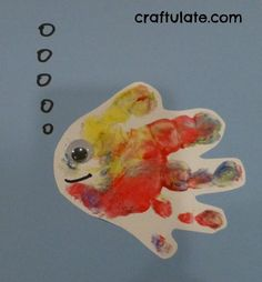 Handprint Fish  could be done on individual sheet of paper or would make a great bulletin board with lots of bright colors.