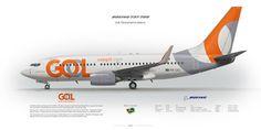 Boeing 737-700 GOL Transportes Aereos PR-GEJ | www.aviaposter.com | Civil aircraft art print | #scetch #art #airliners #aviation #aviaposter #jetliner