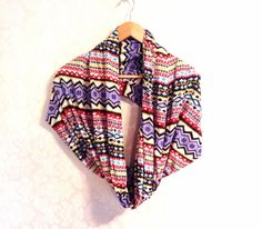 Woman Infinity Scarf colorful tribal print fashion by MissTopKnot, $20.00