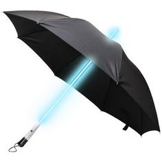 Futuristic black umbrella with LED light-up shaft. Choice of blue or white LED. Look super cool while carrying it around. $24.99