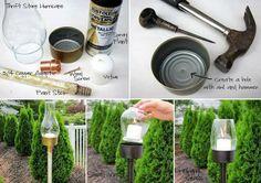 prepara facilmente unas antorchas para el jardin.