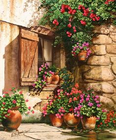 ✿Flowers at the window & door✿ 'Garden In Bloom' ~ Victor Arriola Watercolor Landscape, Watercolour Painting, Painting & Drawing, Watercolors, Pictures To Paint, Art Pictures, Belle Image Nature, Decoupage, Images D'art