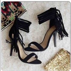 """⭐️SIZE 6.5 or 7⭐️NIB Black Ankle Fringe Heels NIB Black Ankle Fringe Heels. These fun heels dress up any outfit! Gathered ankle fringe detail with gold zipper closure in back. 4 inch heel. Padded footbed for comfort. Ankle strap is about 9-10"""" around. True to size. Available in 6.5, 7 🚫No Trades and No Paypal🚫 Shoes Heels"""