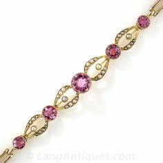 Edwardian Pink Tourmaline and Seed Pearl Bracelet
