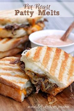 I don't know about you, but when I make a roast, I almost always have leftovers. Well, these Leftover Pot Roast Patty Melts are the best thing to happen to leftover roast since….EVER!  In fact, I purposely cook extra roast now, just to make sure I have enough leftovers to make these sandwiches the … Panini Recipes, Beef Recipes, Cooking Recipes, Beef Dishes, Food Dishes, Main Dishes, Patty Melt Recipe, Leftover Pot Roast, Kitchen