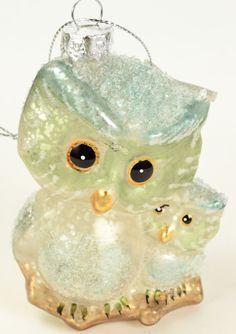 Winter Whispers Blue Owl & Baby 3.75 Inch Mercury Glass Christmas Ornament A051 #KurtSAdler