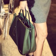 Around The Store: Mixed green Fendi 2Jours tote, NM Paramus.