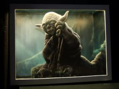 Master Yoda, nightlight diorama with cutout figures and led lights. Star Wars | The Force by boxdiorama on Etsy
