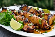Grilled Honey, Lime & Sriracha Chicken Skewers