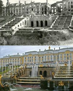 Peterhof: then and now Romanov Palace, Jesus Painting, Royal Residence, Petersburg Russia, Classical Architecture, Beautiful Places To Visit, Travel List, Historical Photos, Castle