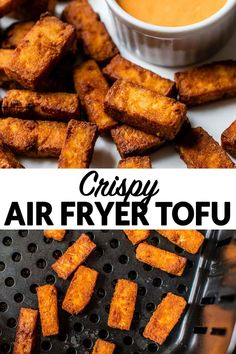 This air fryer tofu is crispy, easy, and healthy! Perfect for adding to an of your favorite Asian recipes. The marinade is just a few simple ingredients. Tofu Recipes, Asian Recipes, Free Recipes, Recipies, Countertop Convection Oven, Tofu Stir Fry, Cook N, Crispy Tofu, Clean Eating Dinner