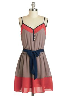 Try a Little Trendy-ness Dress - Mid-length, Tan, Blue, Pink, Buttons, Belted, Casual, A-line, Spaghetti Straps, V Neck, Solid, Daytime Party, Colorblocking, Pockets