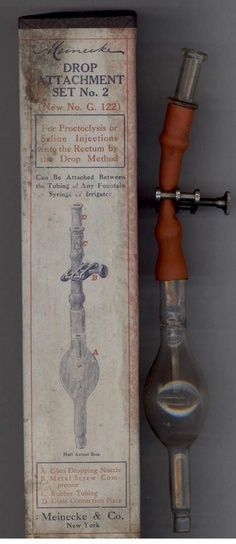 This is an early device distributed by Meinecke and Company of New York for giving saline INJECTIONS into the RECTUM.