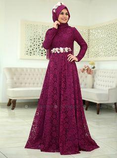 Menekse Evening Dress - Plum  - SomFashion