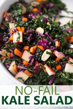 This EASY kale salad recipe will become your go-to! A few tricks help this Kale Cranberry Salad turn out perfect every time. #kalesalad #kalerecipes #kalesaladrecipe Kale Salad Recipes, Lunch Recipes, Healthy Recipes, Kale Salads, Whole30 Recipes, Spinach Salad, Cranberry Salad, Quinoa, Gluten Free Thanksgiving