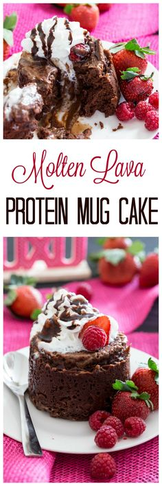 Molten Lava Protein Mug Cake is easy, impressive, and perfect for 2. Plus it has protein! #ad  - Eazy Peazy Mealz