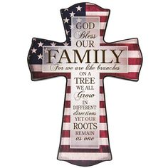 Family Like branches on a tree cross, American flag Personalized wall cross, wedding gift, Parent thank you Gift,Flag cross,anniversary gift