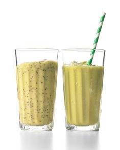 Avocado Smoothie | Martha Stewart - Start off the new year by indulging in this lusciously creamy smoothie made with superfoods that taste as good as they make you feel, including avocado (full of healthy fats and potassium) and chia seeds (packed with omega-3s). #avocado #goodfat - get rid of honey altogether (ew) and replace chia with hemp seed