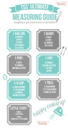 The Sorority Secrets: Ultimate Cheat Sheet to Measuring in the Kitchen!