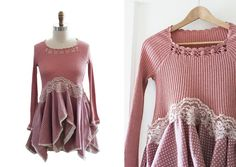Upcycled Boho Top in Dusty Rose Pink, Recycled Crochet Lace Romantic Details,  Repurposed Long Sleeve Tunic  XS Small
