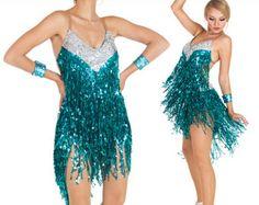 Vestido de flecos de lentejuelas, vestido de baile latino, latino vestido, vestido de baile latino, vestido de flecos Latino, vestido de Salsa, Latine de bata, Lateinkleid
