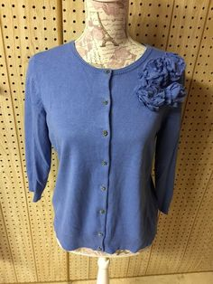 New York  amp  Co Blue Rosette Women s Cardigan Sweater Size L   newYorkcompany  Cardigan. Cardigan Sweaters ... ef90552a0
