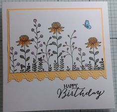 Here is the 3rd card that you could make in the tomorrows workshop, stamps are by Stampin Up, I have used Number of Years and Flowering Fields, the cards are just waiting for some glitter.