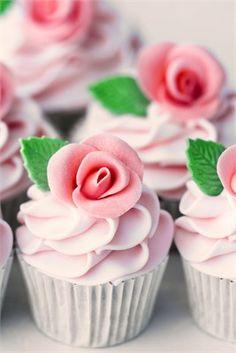 Pink rose wedding cupcake