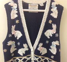 Marisa Christina Classic Sweater Vest Easter Bunny Ladies Medium | eBay $9.99