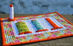 """""""Going, Going, Gone"""" #miniquilt made by Tina from Seaside Stitches. Quilted (and inspired, also?) with #Aurifil #threads"""