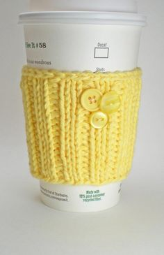Handmade Yellow Cup Cozy (eco-friendly, hand knit coffee cup sleeve or wrist warmer)