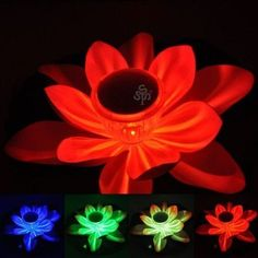 Romantic! Multi-colored Solar LED Lotus Lamp Floating Rotating Pond Light Garden Pool Nightlight,24 months warranty . $15.69. Energy saving & reducing carbon emission, it is environmental friendly.. This solar powered and vivid lotus shaped colorful LED lamp is perfect for decorating and lighting your garden pond, it is also an ideal wishing lamp.. Besides decorating and lighting your garden pond, it can also work as a special wishing lamp.. Features:      For Outdoo...