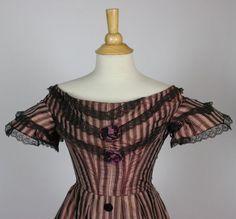 Blue Cream and Brown Striped Silk and Velvet Evening Gown C 1860 | eBay seller sarahelizabethgalleryantiques; semi-boned bodice, black lac...