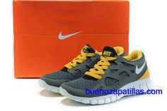 premium selection 398bb 5071a Mujer Nike Free Run 2 Zapatillas (color   vamp - gris , en el interior -  amarillo  logo y unico - blanco)