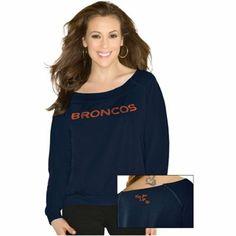 Touch By Alyssa Milano Denver Broncos Ladies Draft Choice Boat Neck Sweatshirt - Navy Blue